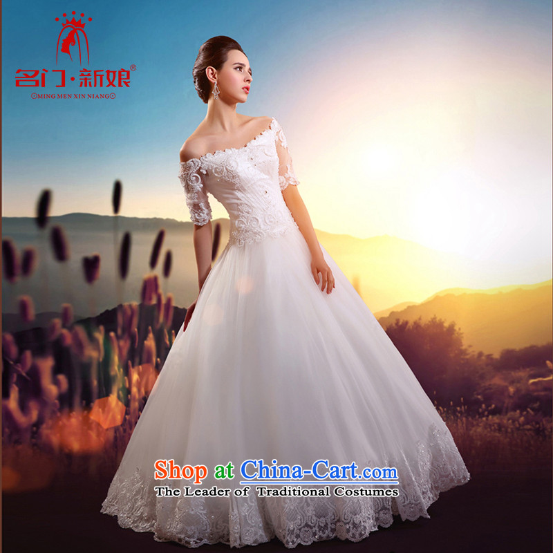 A new bride 2015 wedding lace a shoulder bon bon bridal dresses cuff video thin wedding A529 L