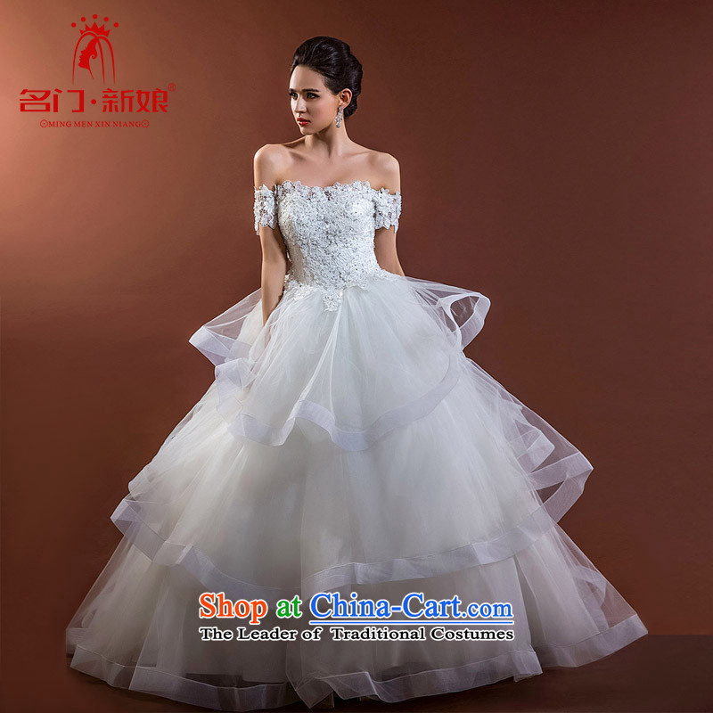 A new 2015 Princess Bride wedding video word thin shoulders lace wedding cake skirt A533 L