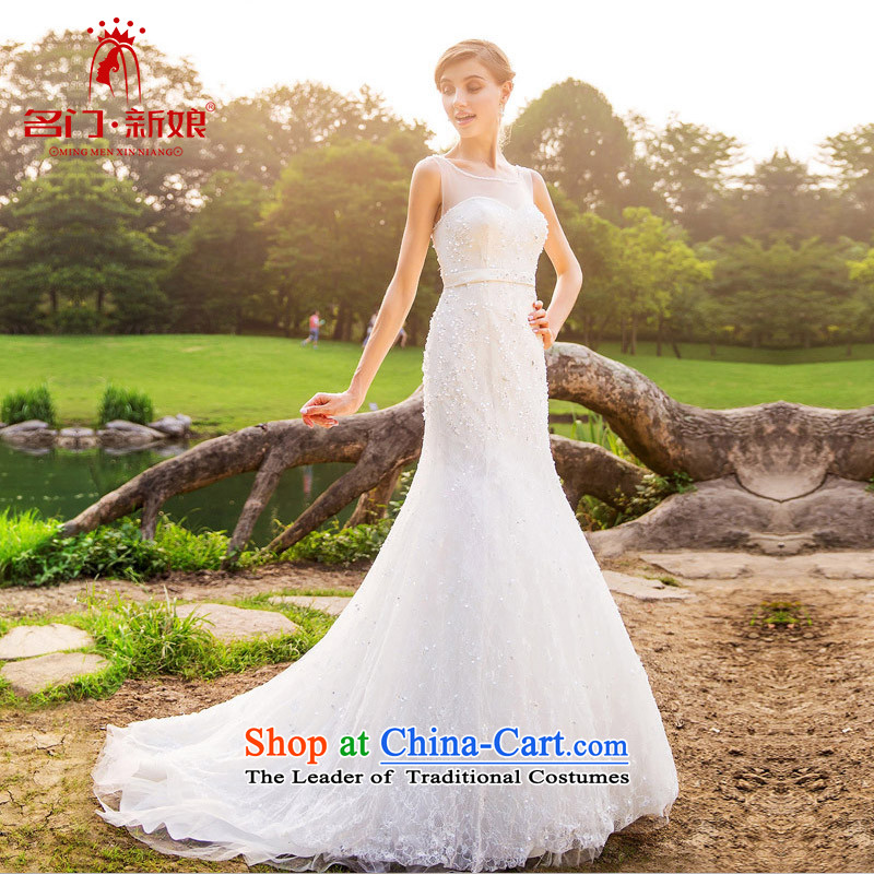 A Bride 2015 stylish lace crowsfoot wedding video thin Sau San tail wedding A561 S