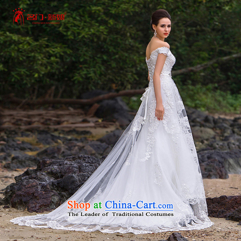 A聽new bride 2015 lace crowsfoot wedding video word thin shoulders manually wedding luxury A563 S