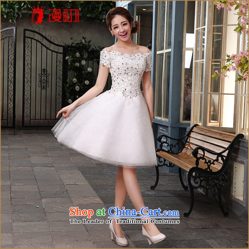 In the early 2015 new man married wedding dresses Korean strap video thin bridesmaid banquet hosted short white dresses made plus $30 does not support Return