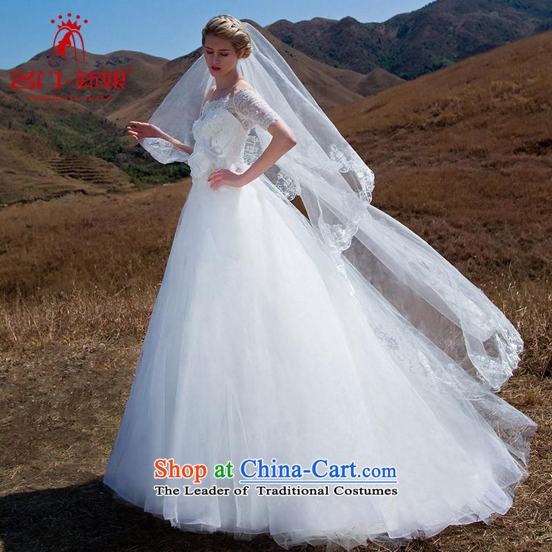 A new bride 2015 wedding fashion a field in the lace cuff shoulder bon bon princess wedding 569 L