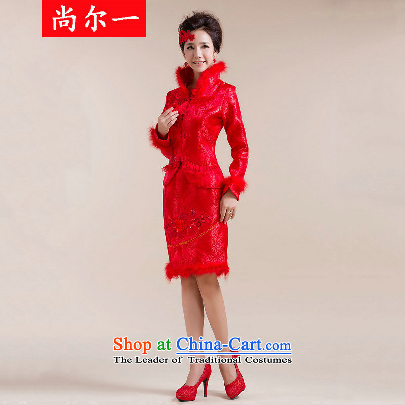 Yet, a new paragraph winter marriage bows feather gross for cotton qipao XS7103 RED�S