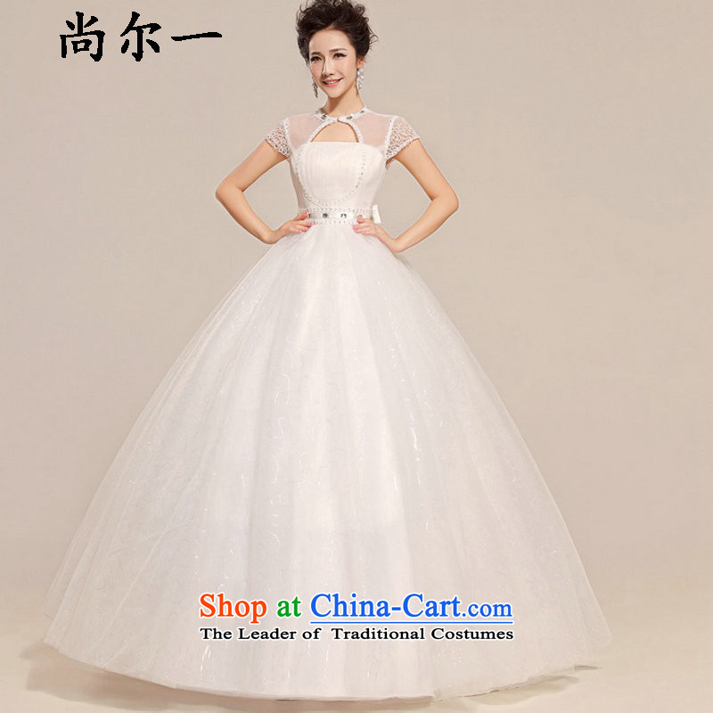 Yet, a new paragraph spring and summer short-sleeved grid packages to align the shoulder bon bon wedding XS7104 White?M