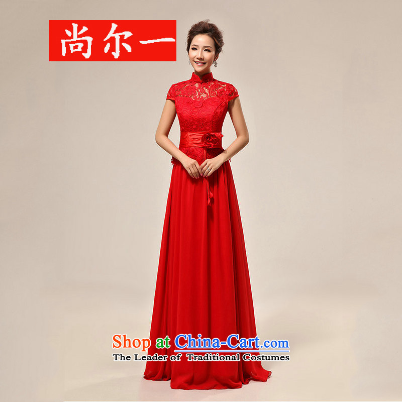 Naoji new luxury sexy word shoulder red lace bride wedding dress XS7106 RED�L