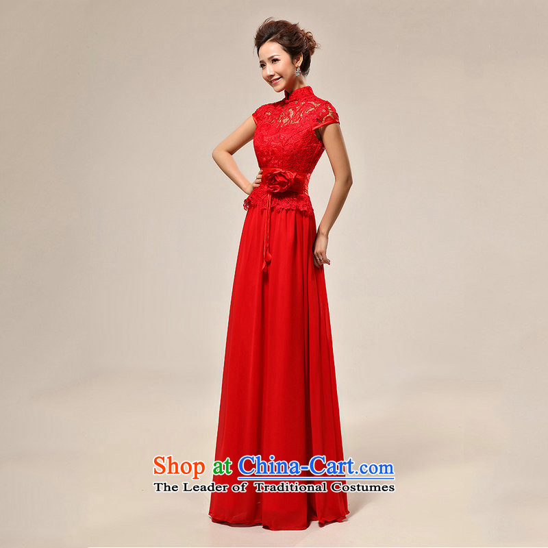 Naoji new luxury sexy word shoulder red lace bride wedding dress XS7106 RED , L, yet a , , , shopping on the Internet