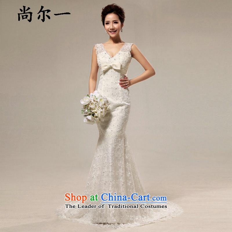 Naoji a deep sense of royal retro V deluxe lace Sau San crowsfoot tail bride wedding XS7017 m White�S