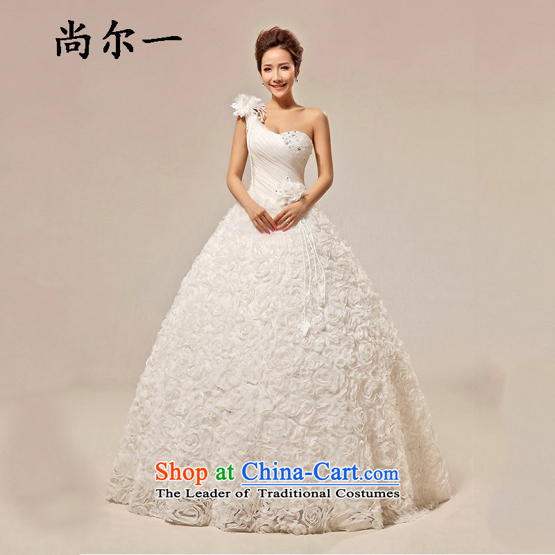 Yet, a wedding dresses Korean sweet Princess Bride to align the shoulder and chest wedding XS5230 m White?XL