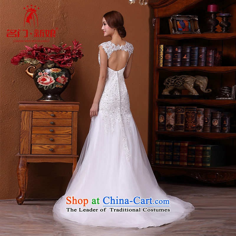 A new bride 2015 wedding lace crowsfoot wedding tail wedding sexy engraving 585 L