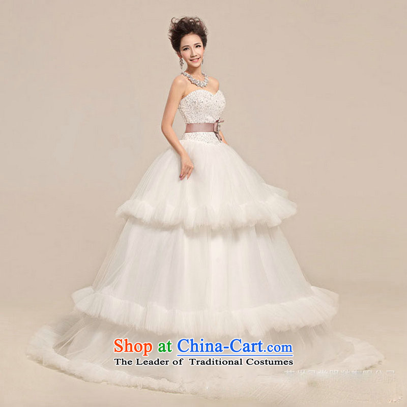 Naoji in the Korean version of the stylish bon bon skirt the waist straps thin brides graphics wedding dresses XS5218 m White S