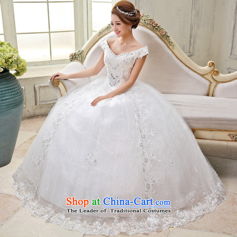 Mrs Alexa Lam Roundup�2014 new word to align the princess Shoulder Drill video thin wedding dresses bride Han-yi 66082 gets married�M(2.2) White