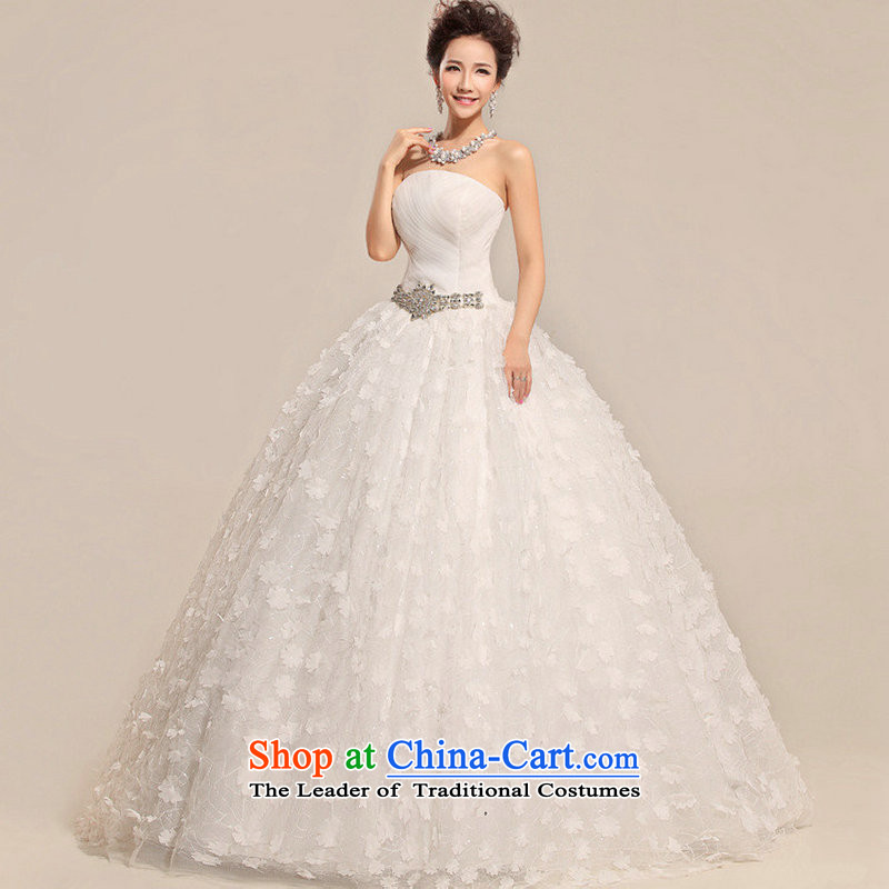 Yet, a new paragraph 2014 Summer Korean brides white retro anointed chest lace wedding dresses XS6625 white?L