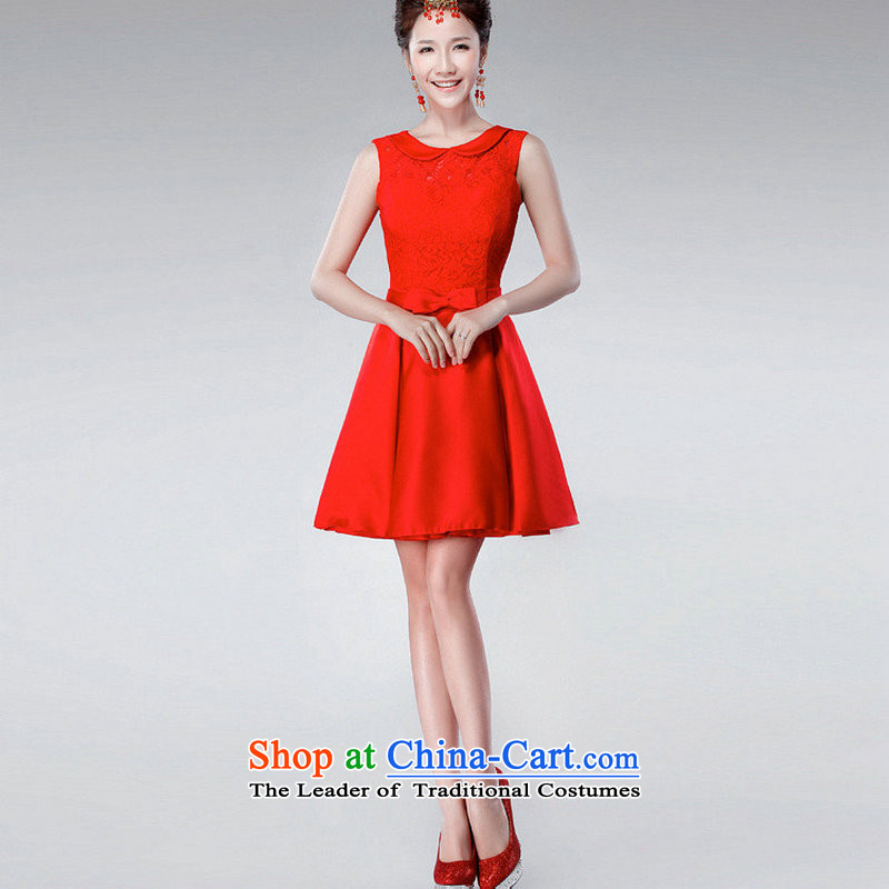Yet a red short, 2014 New toasting champagne dress uniform Korean dress annual spring evening dress XS6623 dress red�XL