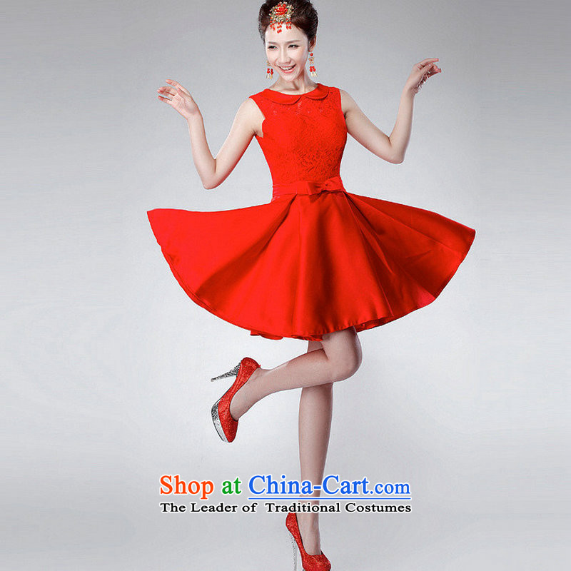 Yet a red short, 2014 New toasting champagne dress uniform Korean dress annual spring evening dress XS6623 dress red XL, naoji a , , , shopping on the Internet