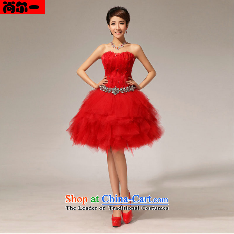 Yet a red short, wipe the chest lace small short skirts bows dress Married Women New Maiden honey short dress XS6622 RED XXL