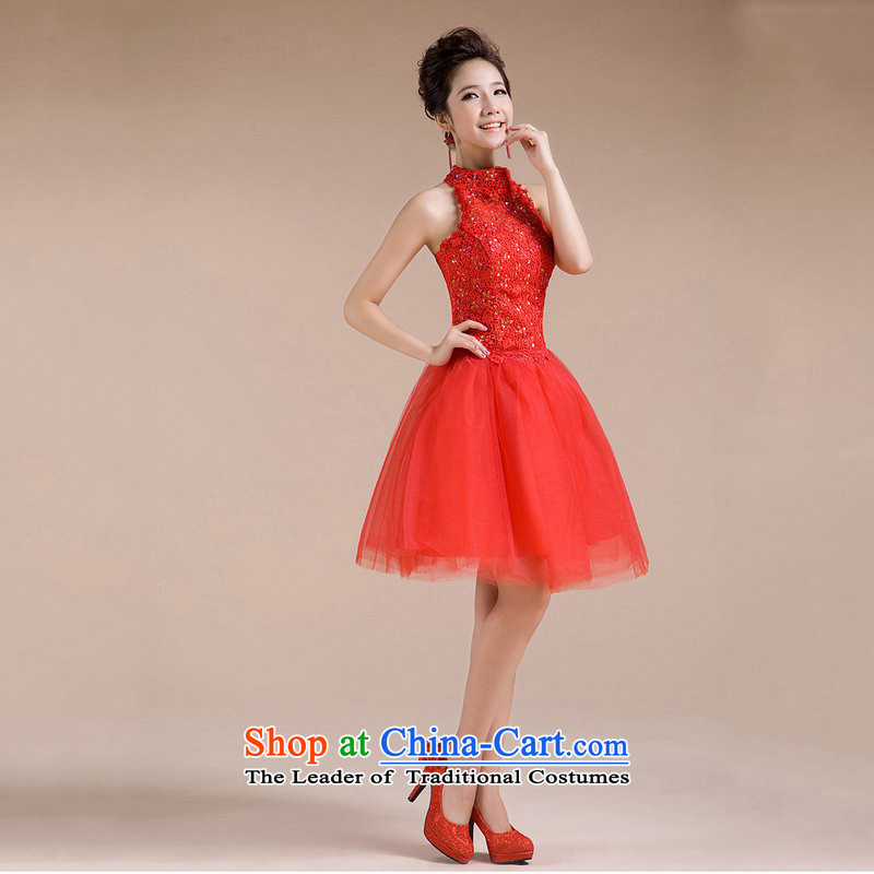 Naoji a 2014 new summer gown hanging also transmitted small service bridal dresses, short short evening dress XS6621 Sau San Red?XXL