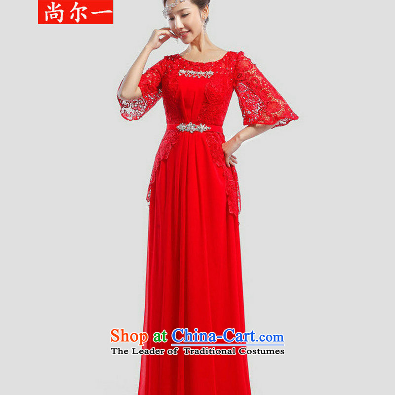 Yet, a wedding dress bride bows Services New 2014 evening dresses marriage Korean wedding banquet long red XS6620 RED?XL