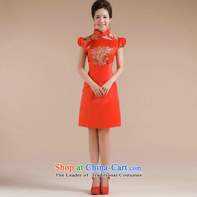 Naoji a 2014 new bride Wedding Dress Short of qipao red improved qipao bows services XS6611 marriage red?S