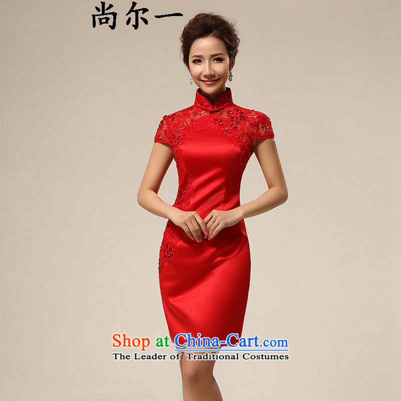 Naoji 2014 Summer a new cheongsam dress marriage Chinese Dress red lace retro improved bride services XS6608 bows red?S
