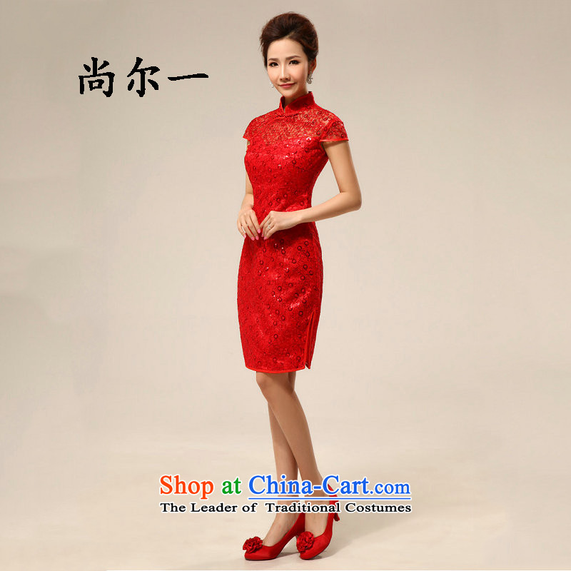 Naoji 2014 Summer a new cheongsam dress marriage Chinese Dress red lace retro improved bride services XS6607 RED�XXL toasting champagne
