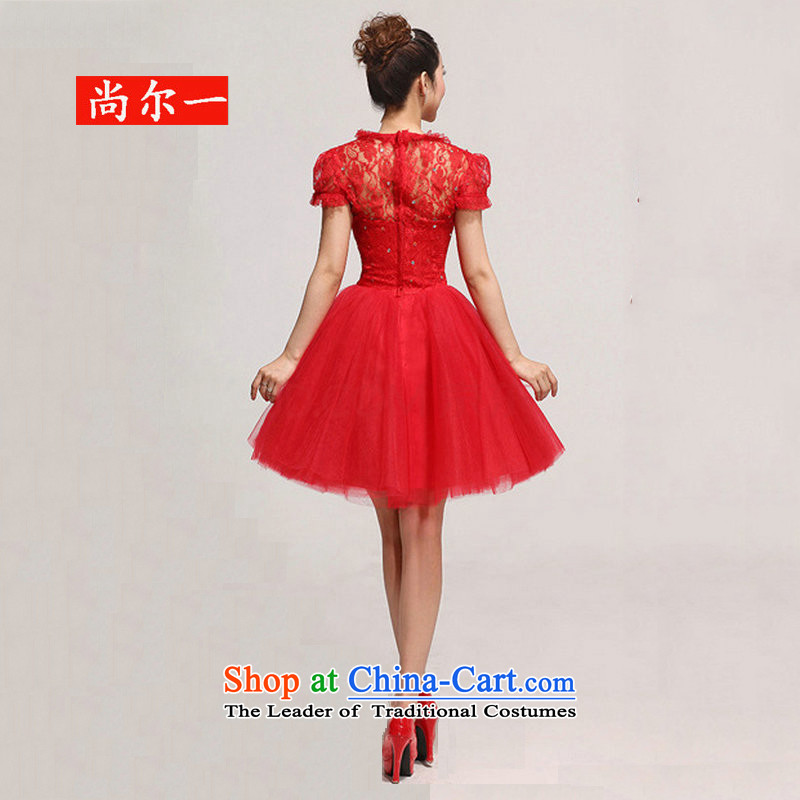 Yet, a new paragraph with chest lace package shoulder flowers knee sister bridesmaid small dress short skirt XS717 RED?XXL