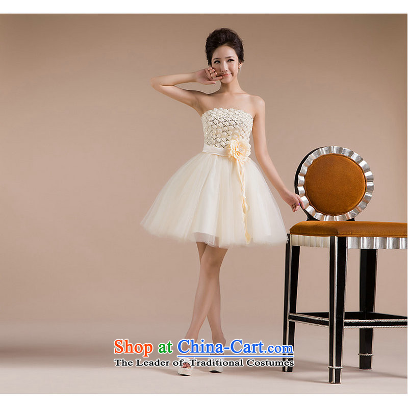A new paragraph naoji exquisite chest flower buds anointed silk gown yarn Decorated flowers. The smaller dresses stereo XS713 champagne color�L