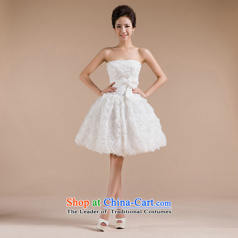 Yet, a new paragraph should be anointed chest bridesmaid dress in sweet elegant white package small-Dress edge petticoats XS712 white?S