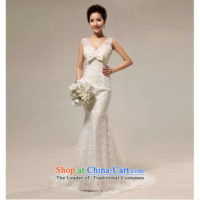 Yet, a new paragraph lace shoulders Korean sexy beauty crowsfoot small trailing bride wedding dresses XS708 white?S
