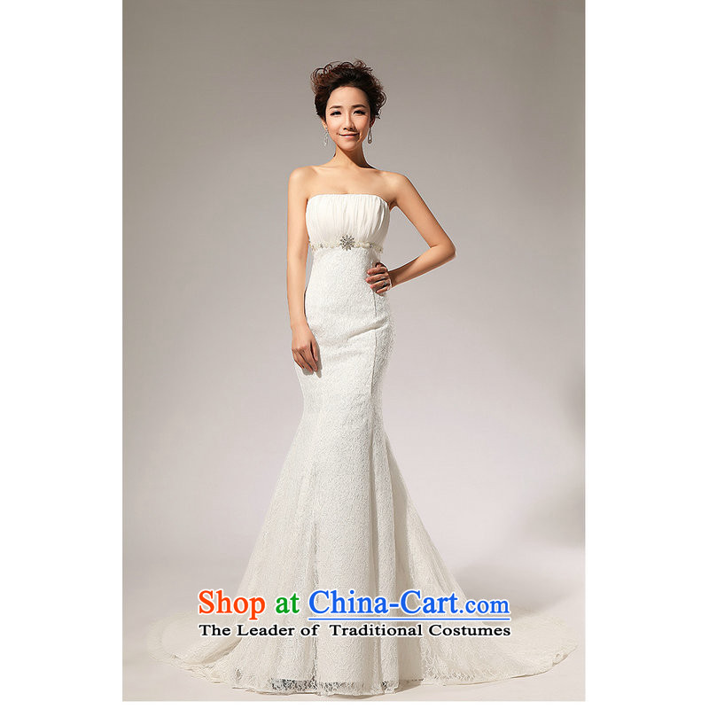 Naoji in the Korean version of the alignment to the Princess Mary Magdalene chest elegant sweet small trailing wedding dresses XS707 White?M