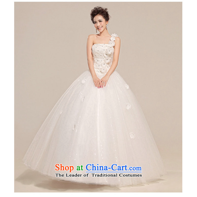 Yet, a new paragraph Korean fashion need to align the shoulder flowers princess straps_ Bride wedding XS705 white?L