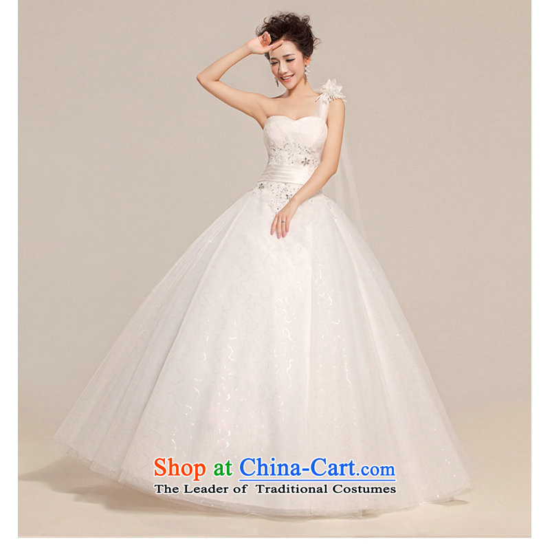 Yet, a new paragraph wedding shoulder female Korean alignment with chest wedding dresses Korean sweet white wedding XS704 Princess white S