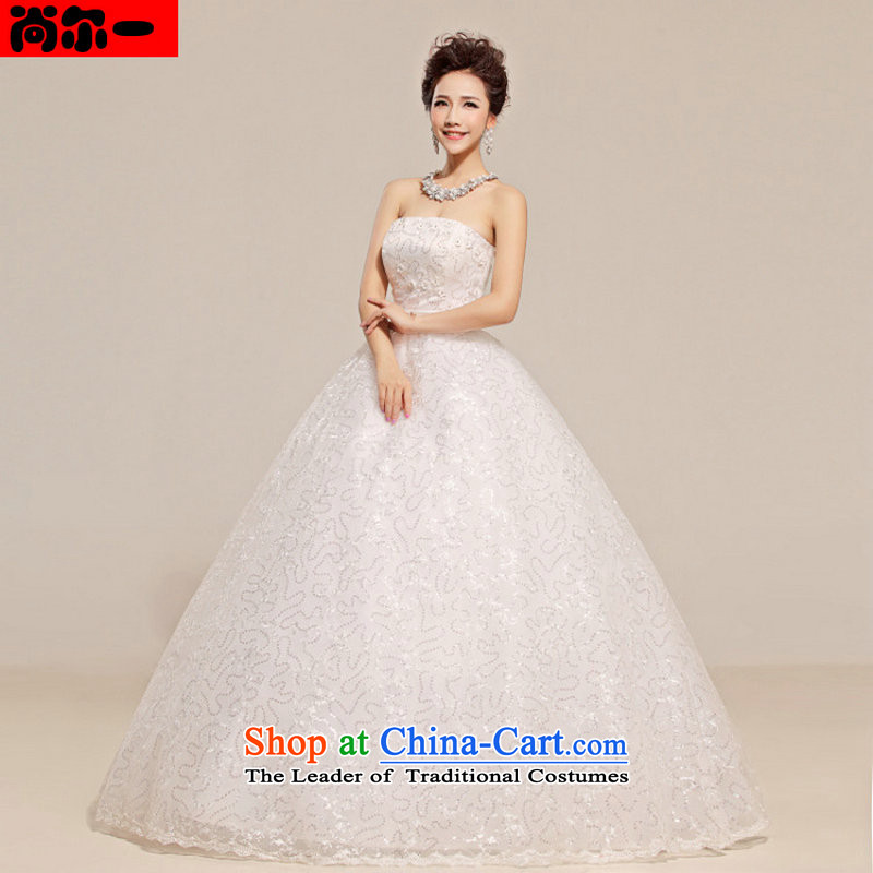 A new paragraph, yet stylish Korean yet floreal design and cultivating the chest to graphics thin bride wedding dress XS702 white?S