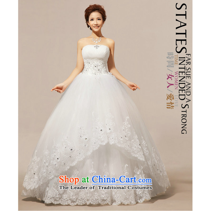 Yet, a winter wedding Korean wiping the chest to align graphics thin wedding dresses wedding XS111 White?XL