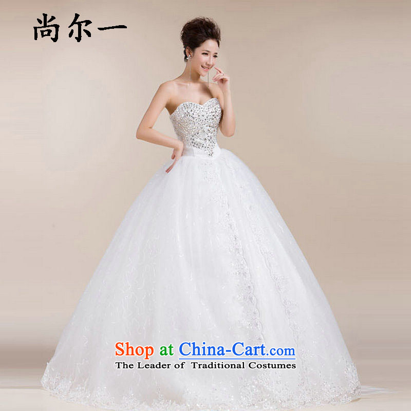 Naoji a 2014 new Korean style of a cardioid anointed chest wedding bride white film lace bon bon yarn large spring XS511 white?S