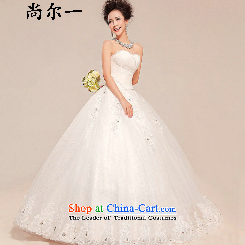 Naoji a 2014 new wedding dresses wholesale bride anointed chest to align the Korean skirt straps bon bon White gauze wedding XS558 white L