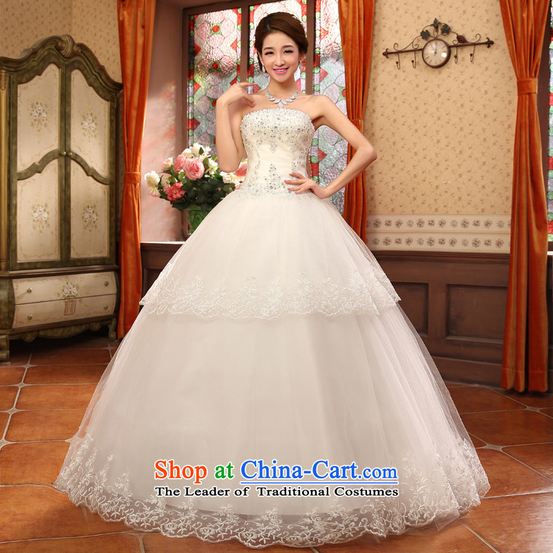 Shared Keun guijin bride wedding dress lace irrepressible small drilled saika align to bon bon, wedding hs5635 m White?XL code from Suzhou Shipment