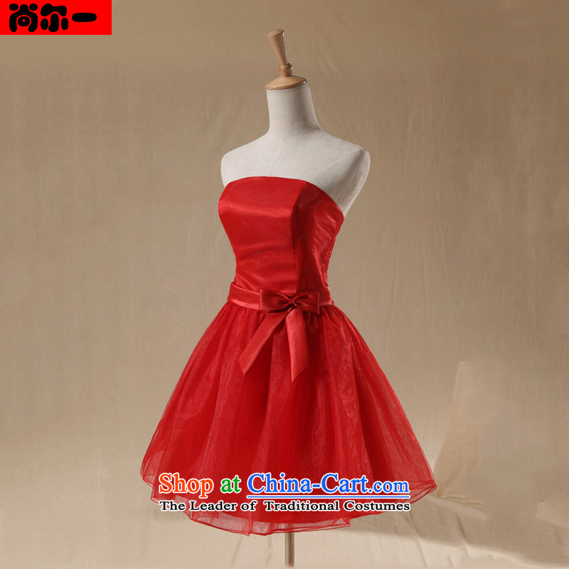 Naoji one short of bridesmaid services serving the strap dresses and sisters bows services in a small star dress?2014 NEW XS339 RED?M