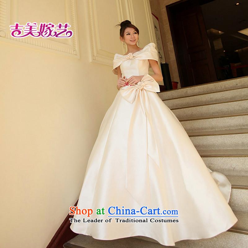 Wedding dress Kyrgyz-american married a new arts 2014 Field shoulder Korean skirt to align bon bon HS503 bride wedding champagne color聽XXL