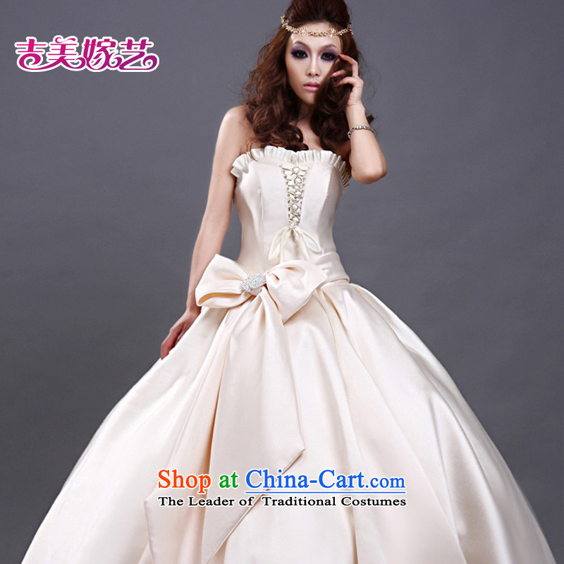 Wedding dress Kyrgyz-american married new anointed arts 2015 Chest Korean skirt to align bon bon HS504 bride wedding champagne color L