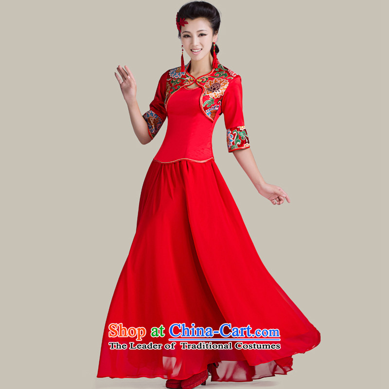 Mrs Alexa Lam roundup marriages kit qipao new Chinese bows services in Sau San cuff 16958 Red L