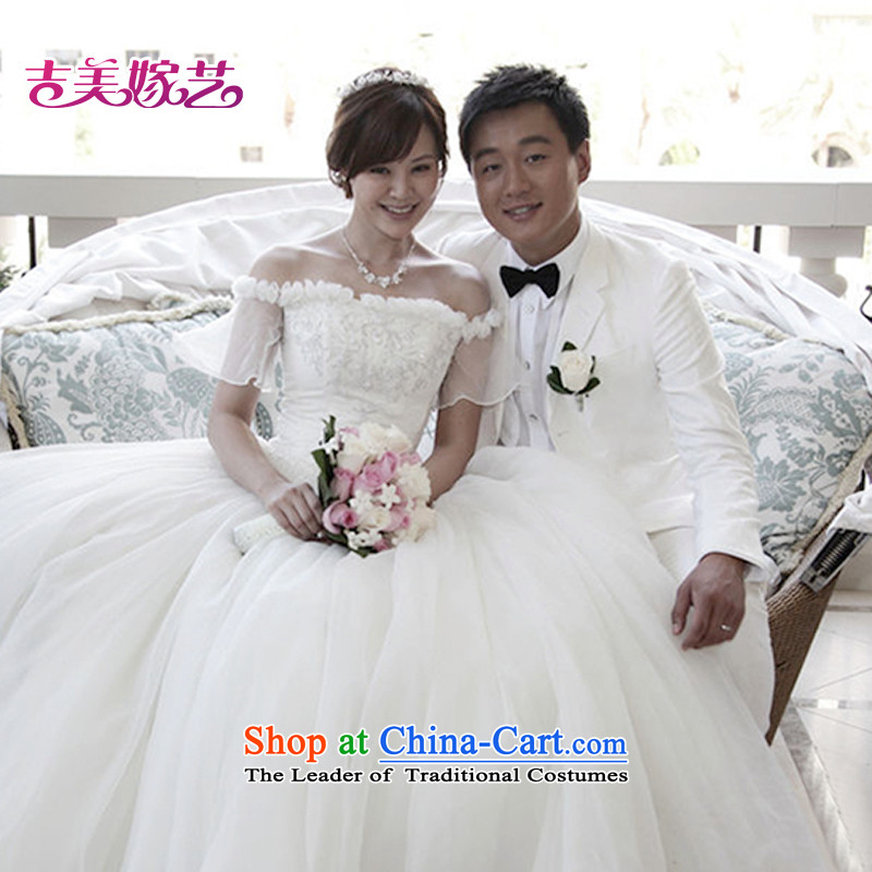 Wedding dress Kyrgyz-american married a NEW 2015 arts field shoulder Korean skirt HS309 bon bon bride wedding White?M