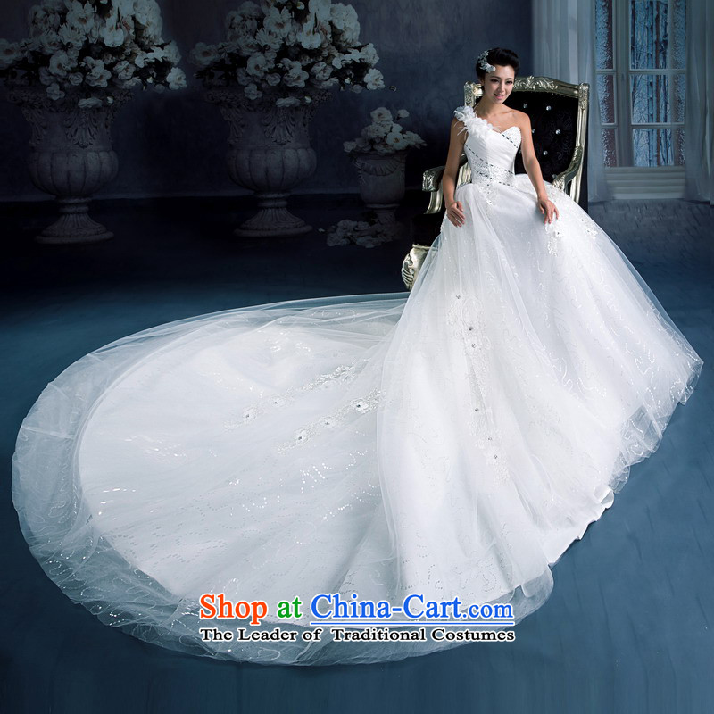 Mrs Alexa Lam roundup new 2014 Beveled Shoulder tail wedding marriages long tail with bore video thin bon bon skirt 15581 white聽L