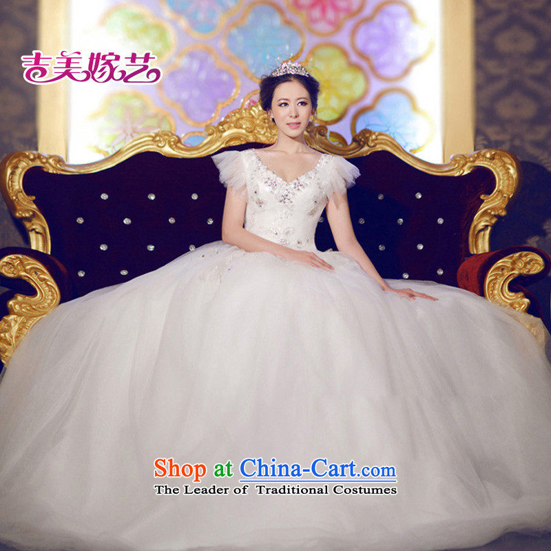 Wedding dress Kyrgyz-american married arts new 2015 shoulder strap Korean skirt HS653 bon bon bride wedding White聽XL