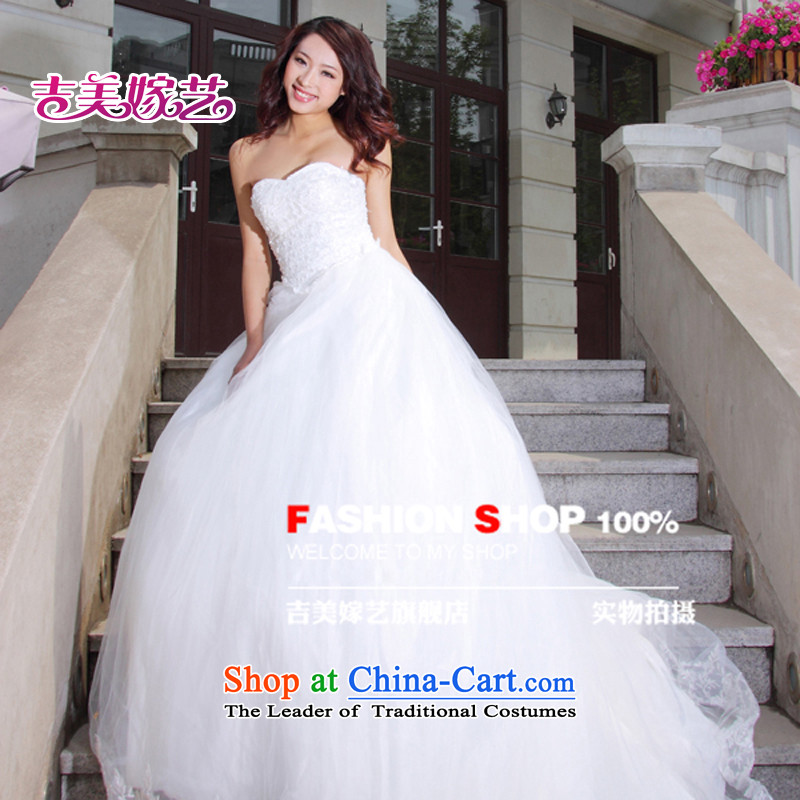 Wedding dress Kyrgyz-american married arts new 2015 Removable shoulder strap tail HT2004 Korean brides wedding White?XL