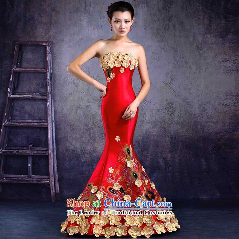Mrs Alexa Lam roundup bride wedding services?2014 new bows crowsfoot video thin evening dresses flowers to align the marriage qipao 32662?XL