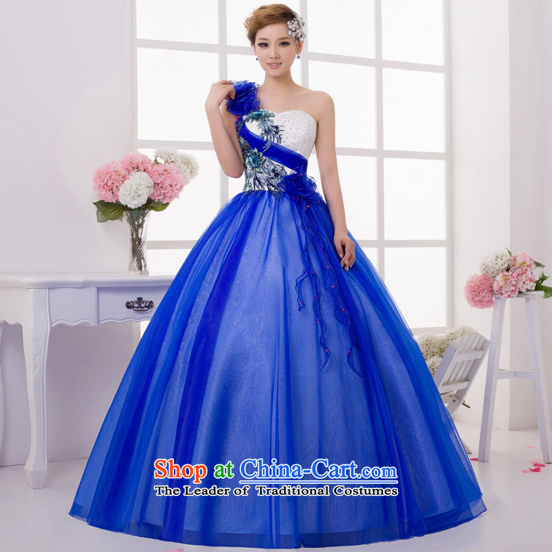 Mrs Alexa Lam Roundup Korean Style New 2014 shoulder bon bon skirt marriages evening dress blue show video thin wedding dresses 33062 Blue?M