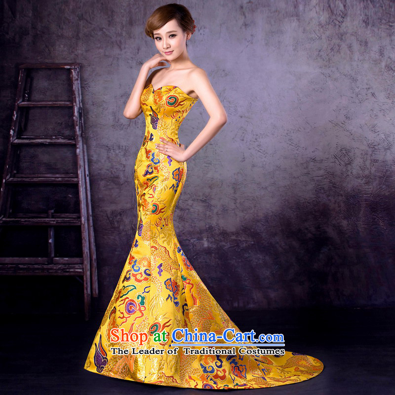 Mrs Alexa Lam roundup golden dragon robe new marriages wedding dresses and chest tail graphics performance, bridal toasting champagne thin dress 32962 Golden M