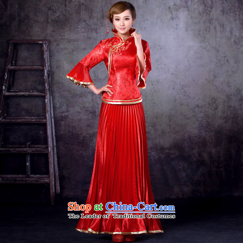 Mrs Alexa Lam roundup new marriage wedding dress bride red Chinese bows service kit collar improved qipao�13258�Red�XXL