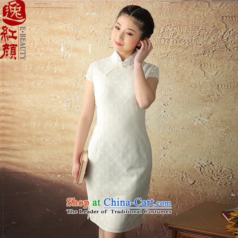 A Pinwheel Without Wind Blowing-Yuk Yat 2015 Summer new lace improved short-sleeved qipao retro elegant qipao dresses White�XL