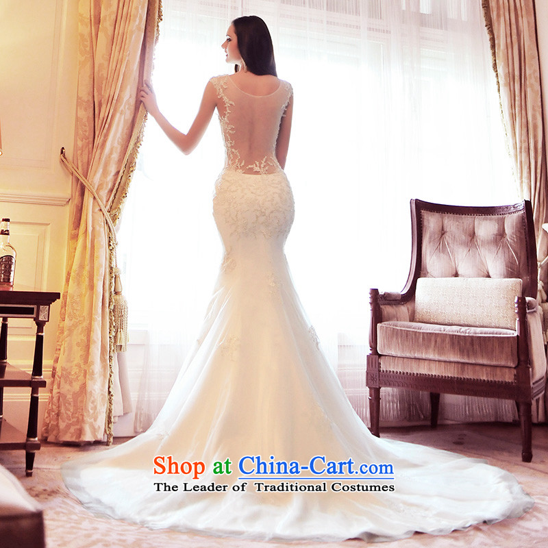 Full Chamber Fang 2015 new crowsfoot shoulder strap gauze wedding dresses spring tail Korean lace S21491 tail 173-L 60cm
